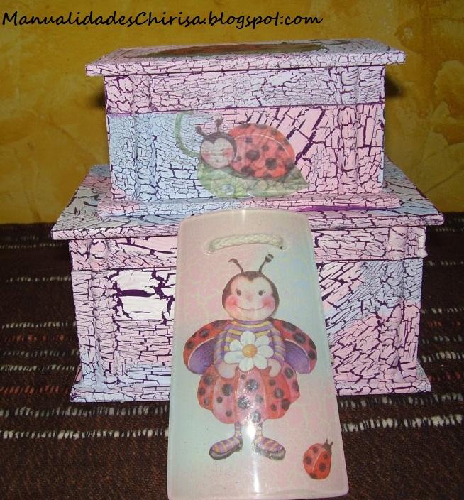 Cajas de madera y teja decorada para ni as manualidades chirisa - Manualidades con cajas de madera ...