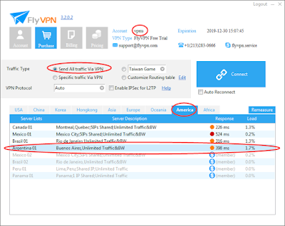 Argentina VPN Server in FlyVPN Trial Account