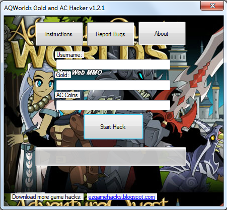 AQWorlds Gold and AC Hack v1.2.1 [AQWorlds Cheats Download 2013]