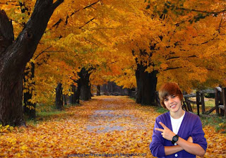 Desktop Wallpaper of Justin Bieber saluting the fans in Autumn Trees desktop wallpaper