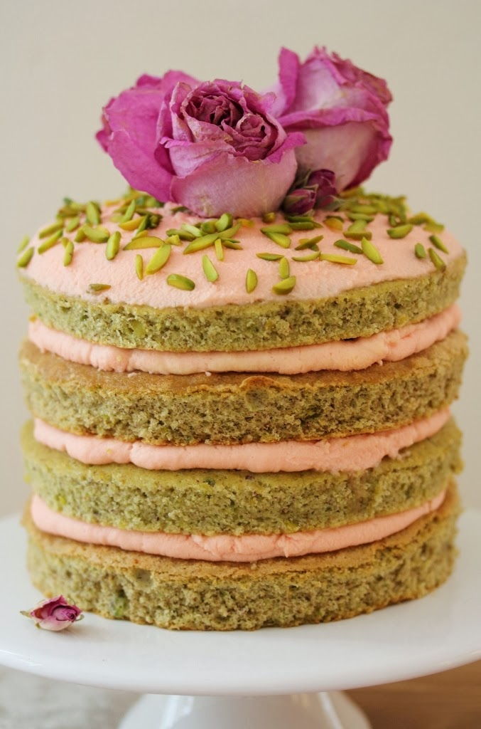 Pistachio Layer Cake With Rose Mascarpone Frosting 1 Year