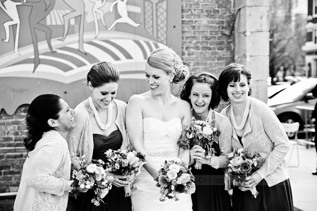 bride and bridesmaids downtown Indianapolis