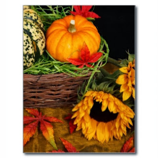 Pumpkins, fall leaves and sunflower cards