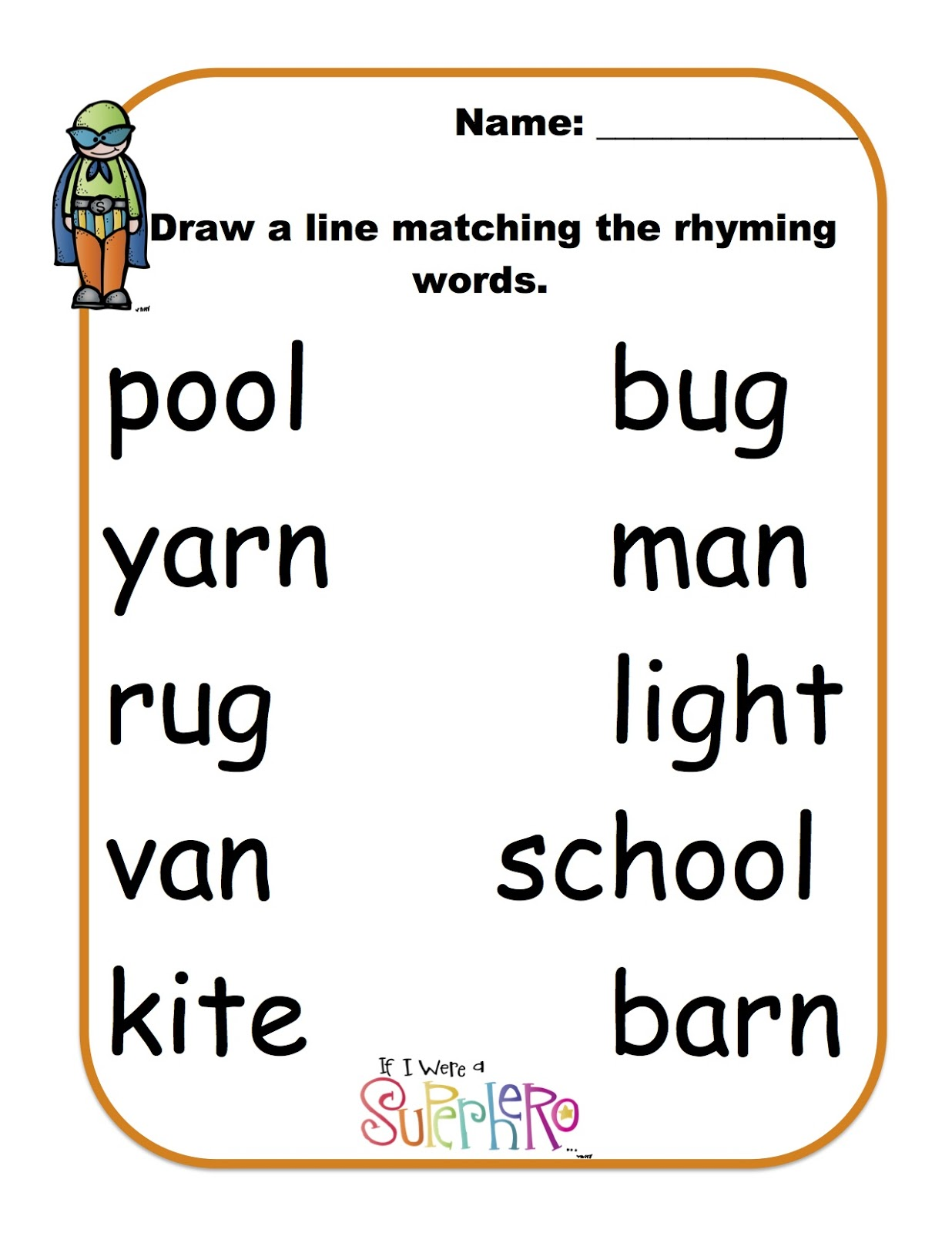 Worksheet Rhyming Words For Preschoolers rhyming words with super heros preschool printables heros