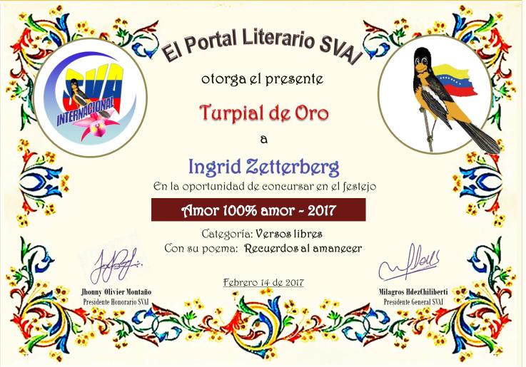 Diploma de Primer puesto en Sociedad venezolana de artistas internacionales