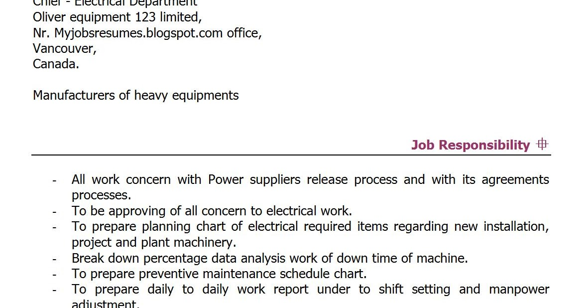 Fresh Jobs And Free Resume Samples For Jobs  Electrical