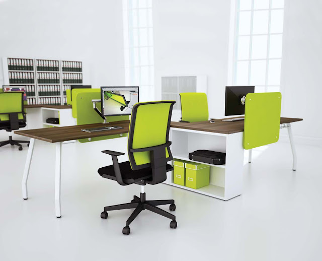 elegant bright green ergonomic computer chairs completed with simple wooden desk