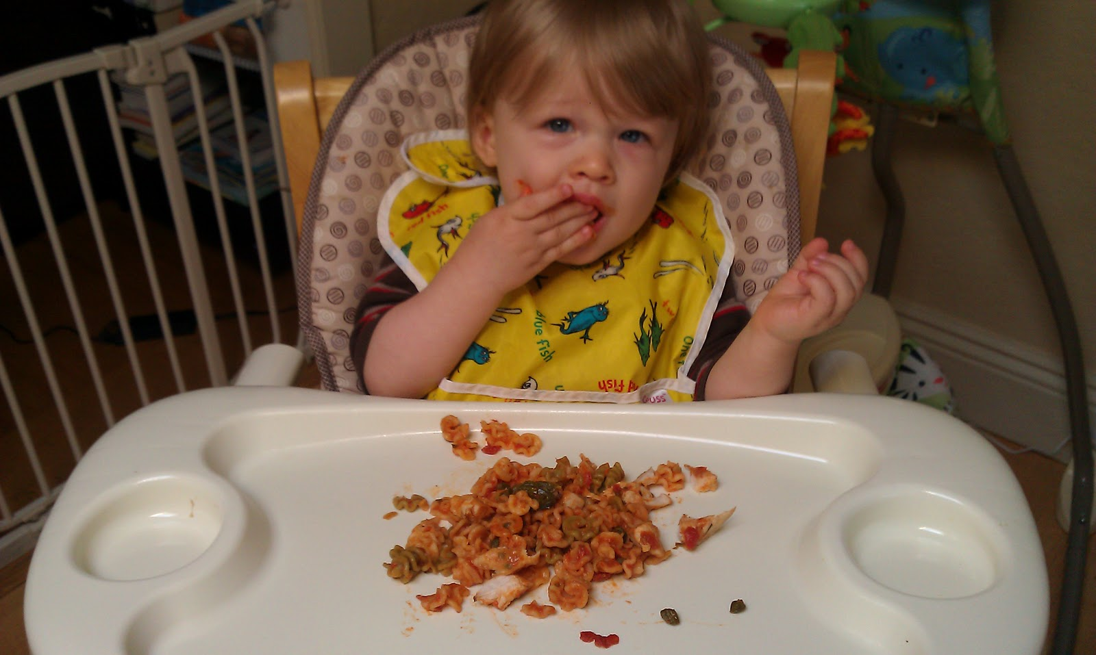 Image result for baby eating cut up chicken