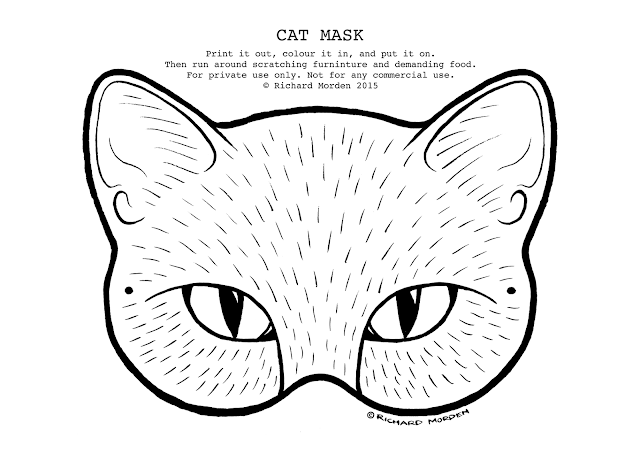 colour in paper cat mask