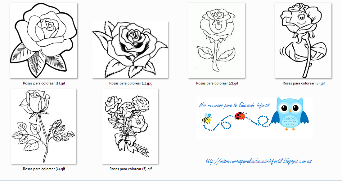 Play & Learn: Rosas para colorear