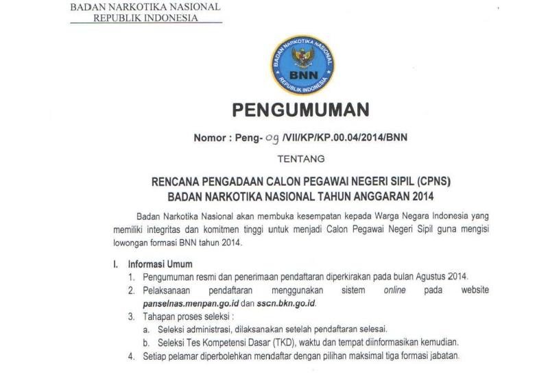 Info penerimaan CPNS BNN 2014