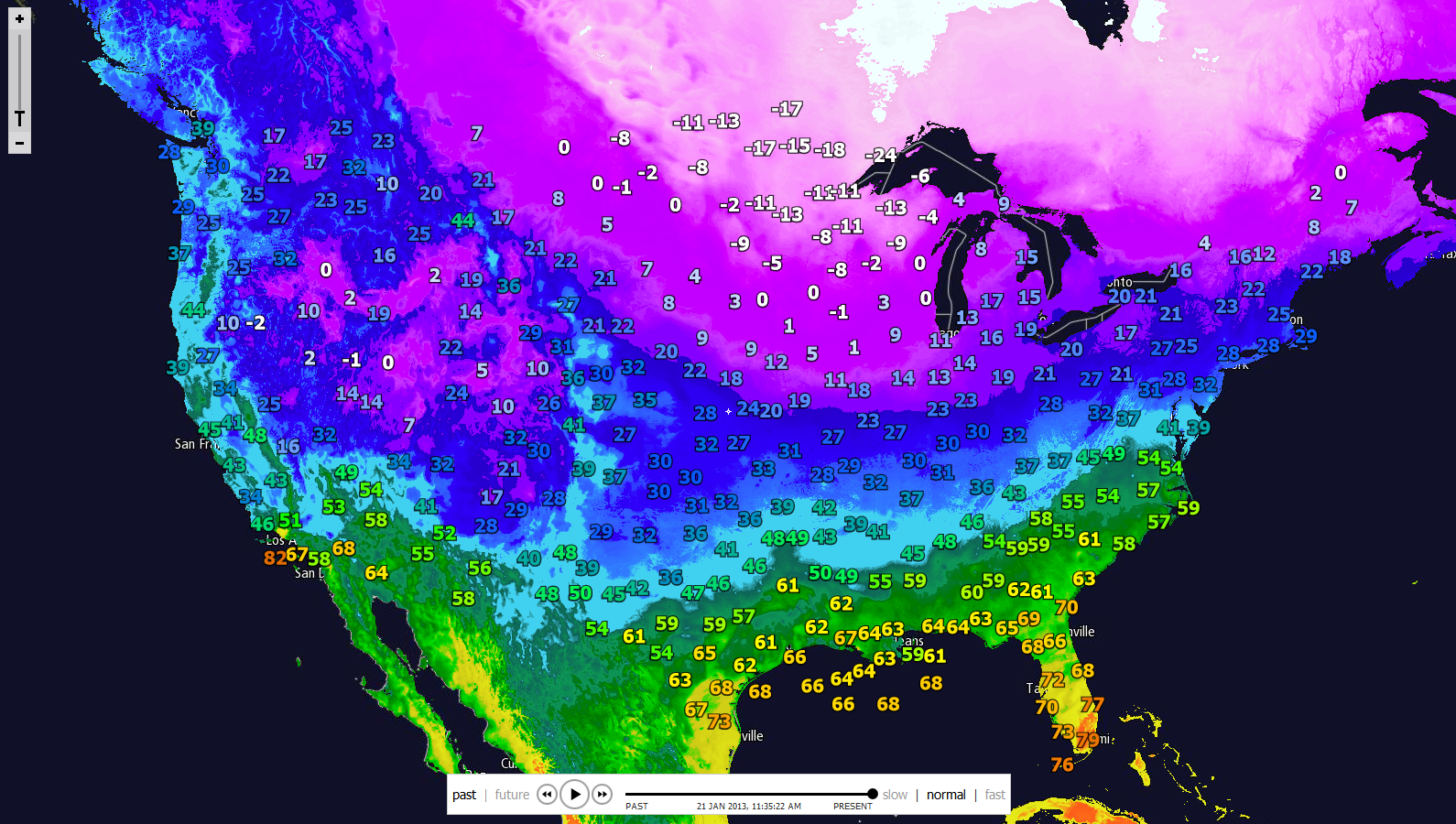 Michaels Weather Blog January - Us current weather map temperatures