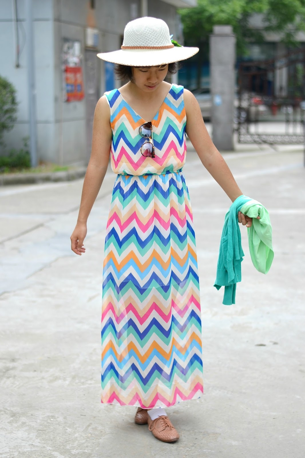 multicolor chevron maxi dress
