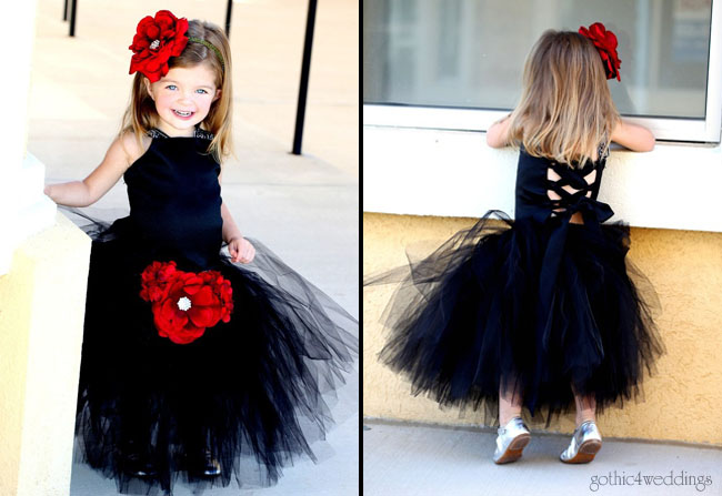 Black Flower Girl Dresses for Gothic Weddings by BellaBeanCouture