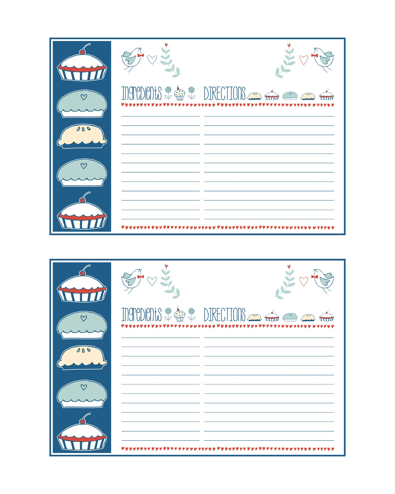 This is an image of Gutsy Printable Recipe Cards