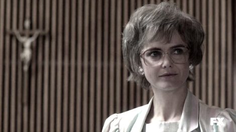 Keri Russell wearing a granny wig in The Americans