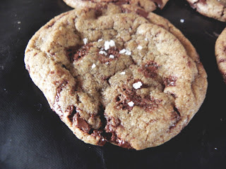 small dark chocolate chip cookie with sea salt
