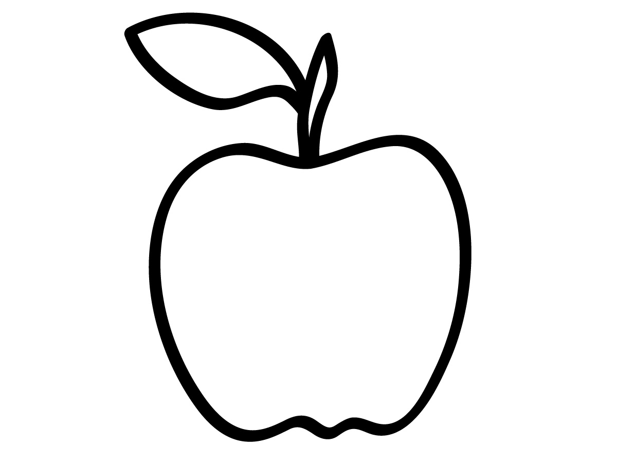 Cartoon Apple Coloring Pages : Outline drawing line painting