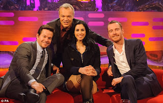 Michael Fassbender (far right) with Mark Wahlberg, Graham Norton and Sarah Silverman. (PA)