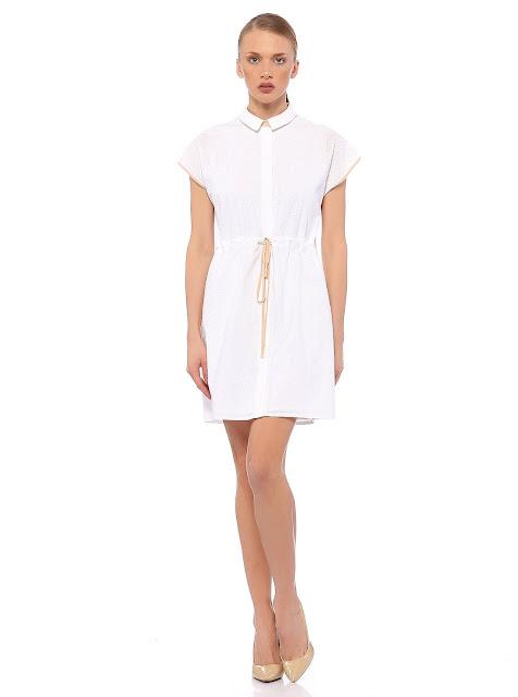yakalı beyaz kısa elbise