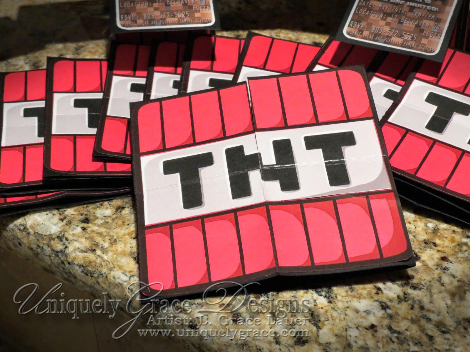Minecraft Birthday Party Invitations TNT Closed Card