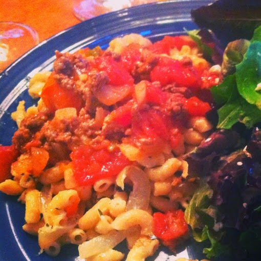 Mac & Cheese Dressed Up for Mother's Day, served with a green salad.