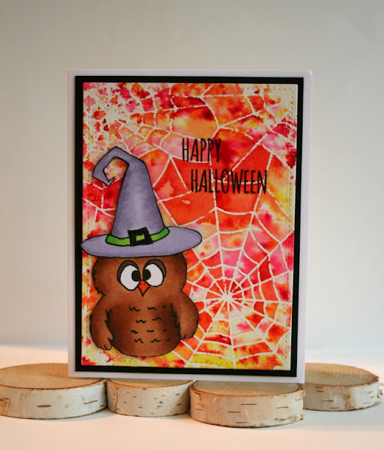Spider Web Background Halloween Card with Gerda Steiner Designs Digital Stamps by Jess Gerstner