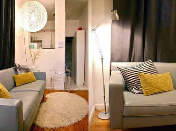 Phòng khách trong căn hộ xinh xắn với điểm nhấn là những chiếc gối vàng tươi tắn