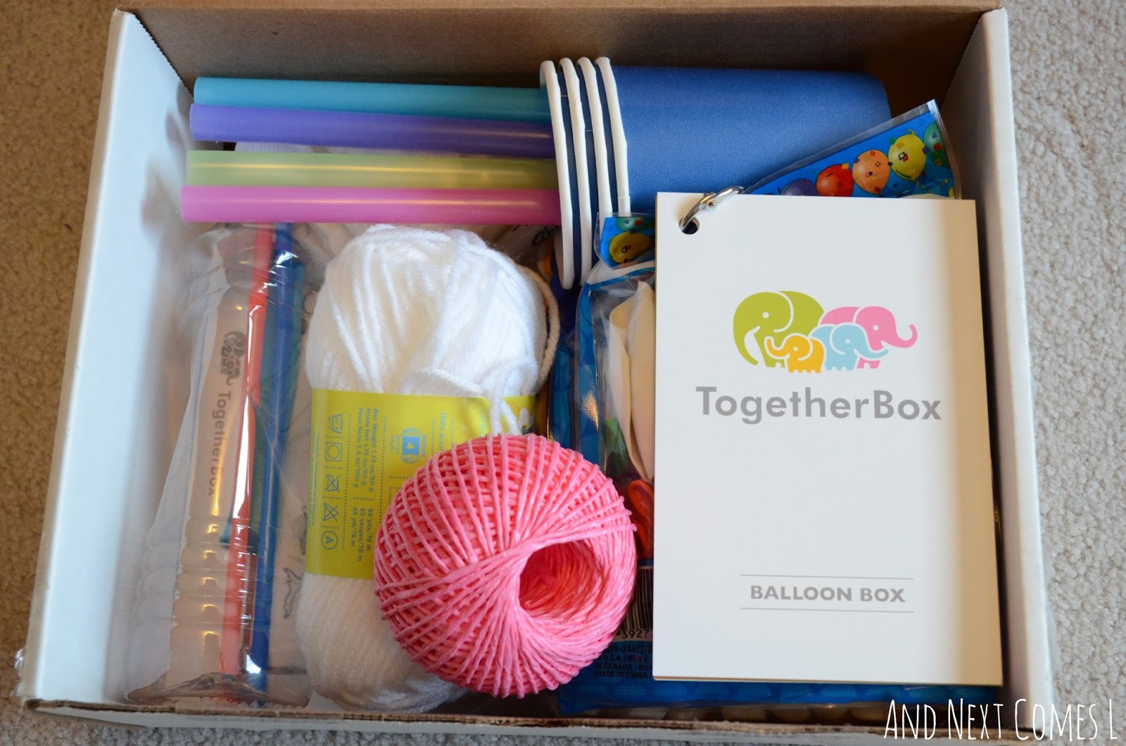 Inside the Together Box's balloon box from And Next Comes L