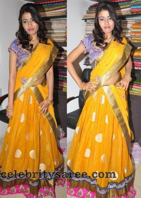 Yellow Net Polka Dots Half Sari