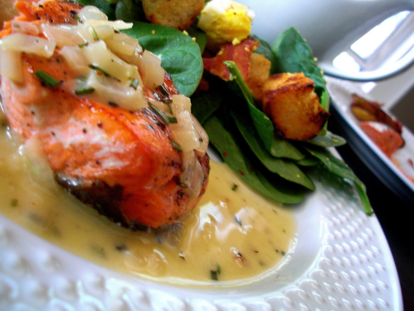 ... : Sear-Roasted Salmon Fillets with Lemon-Rosemary Butter Sauce