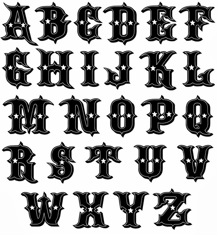 Alphabet western tattoo stencil 2 (click for full size)