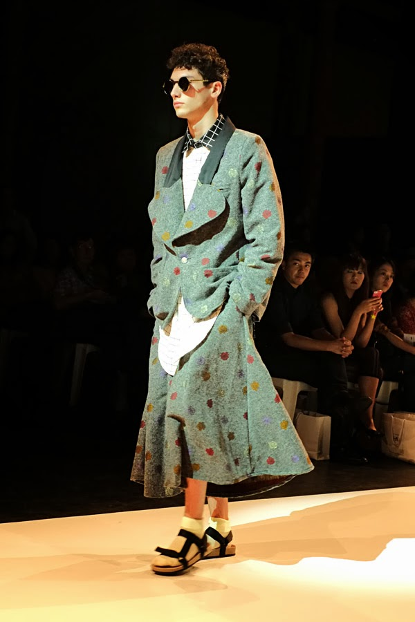 Helen Nguyen, Natalie Nguyen tweedy mens skirt and jacket with poka dots- Menswear : Raffles Graduate Fashion Parade 2013 Photography by Kent Johnson.