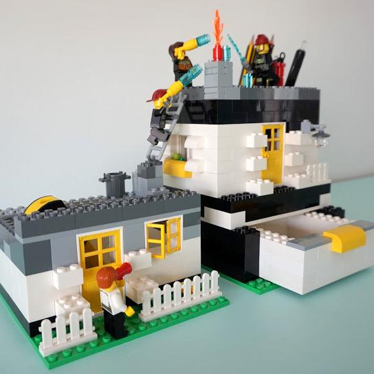 Lego brandweer pennenhouder voor papa