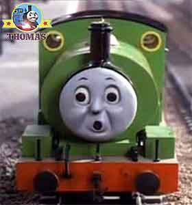Percy engine looked along the main track line peep-peep Percy the train scared whistled in horror