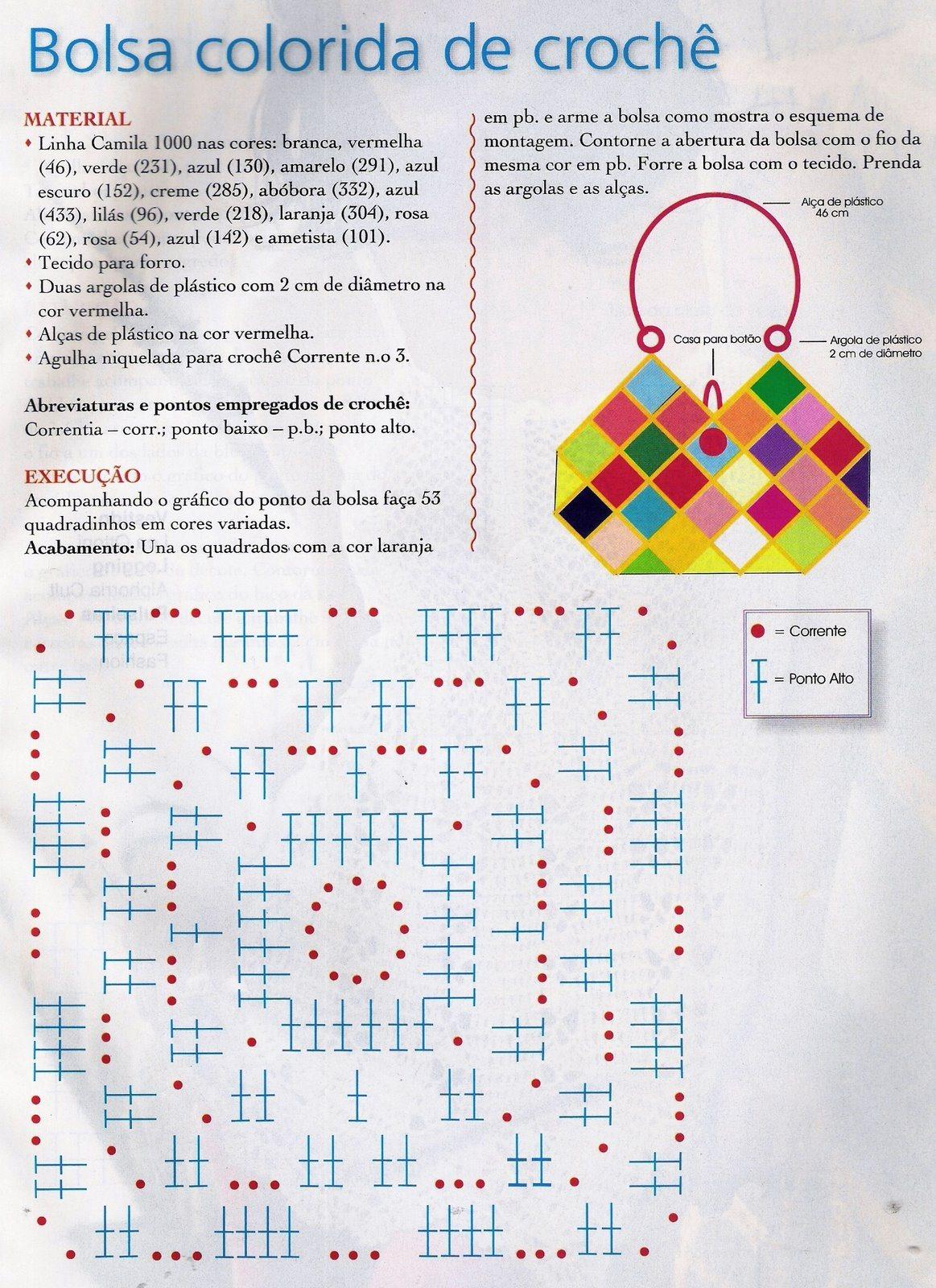 Bolso Cuadros Rombos Crochet Patron