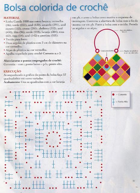 Bolso Cuadros-Rombos Crochet Patron