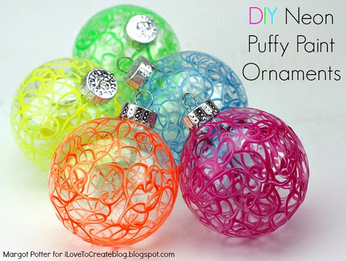 DIY Neon Puffy Paint Ornaments