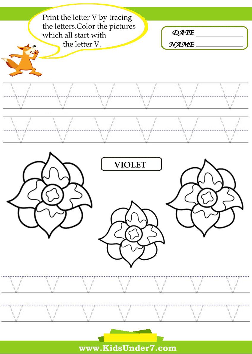 Kids Under 7: Alphabet worksheets.Trace and Print Letter V