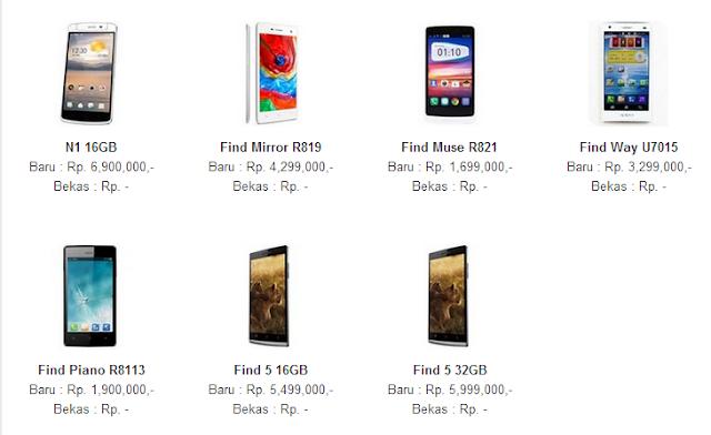 Harga Hp Oppo Smartphone