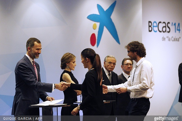 Spain's King Felipe VI and Spain's Queen Letizia preside over the 33rd edition of the Caixa scholarship award ceremony