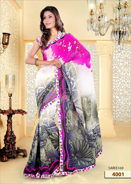Buy Floral Print Georgette Saree Online Shopping