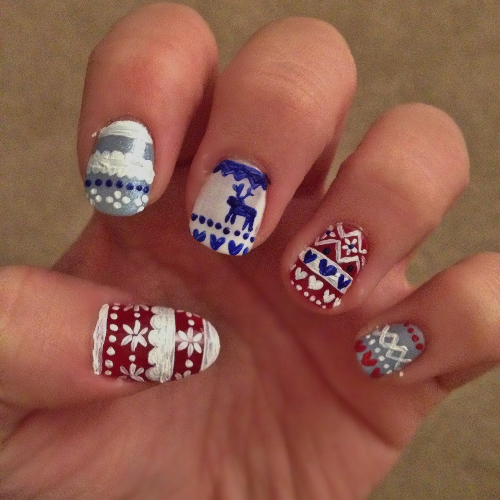 Nail art: Christmas Jumper|Fairisle #NOTD | Barely There Beauty - A ...