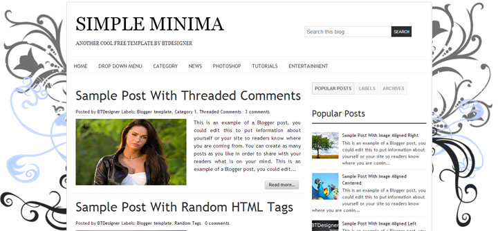 Simple Minima Blogger Template by BTDesigner
