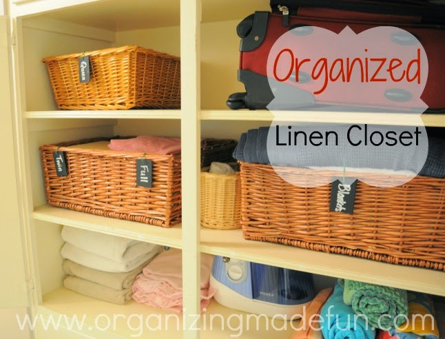 Organizing Hack: Baskets for linens:: OrganizingMadeFun.com