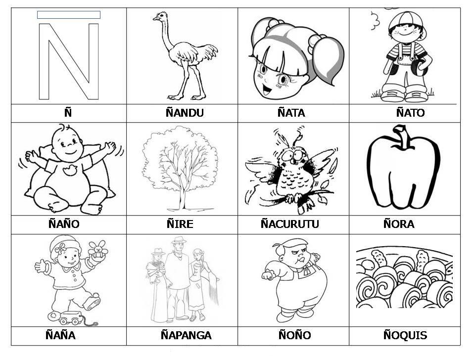 Laminas Con Dibujos Para Aprender Palabras Y Colorear Con Letra