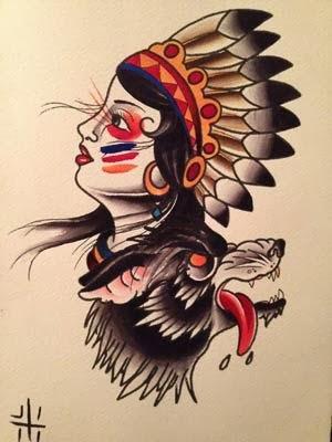 Desenho de india com lobo