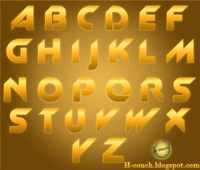 Download golden alphabet + font { PSD }