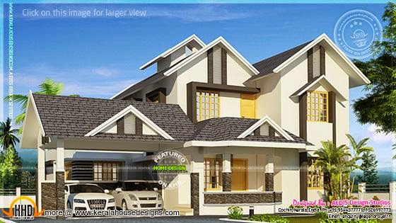 Sloping roof house