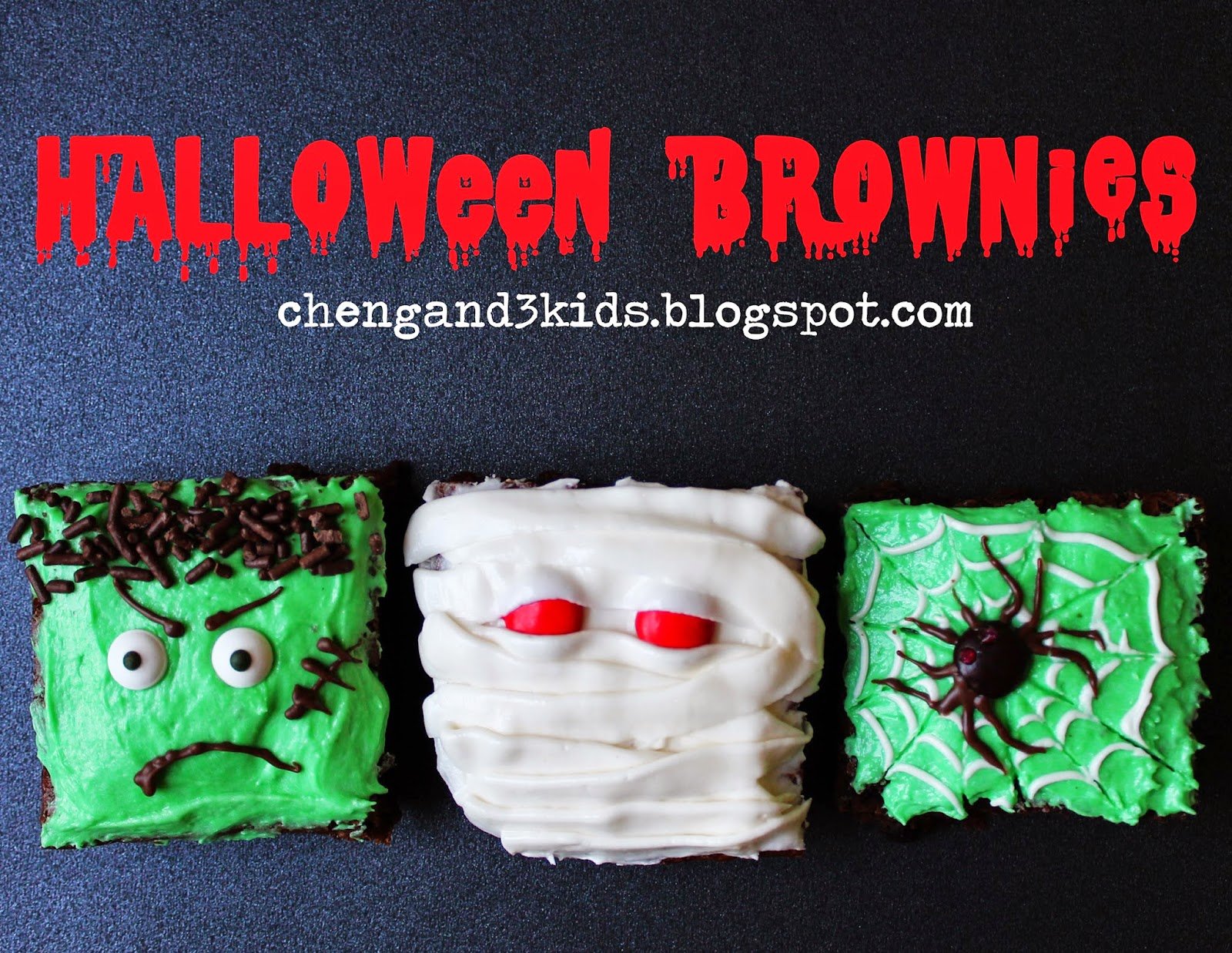 Halloween Brownies -- Frankenstein Brownie, Mummy Brownie, and Spider Brownie by chengand3kids.blogspot.com